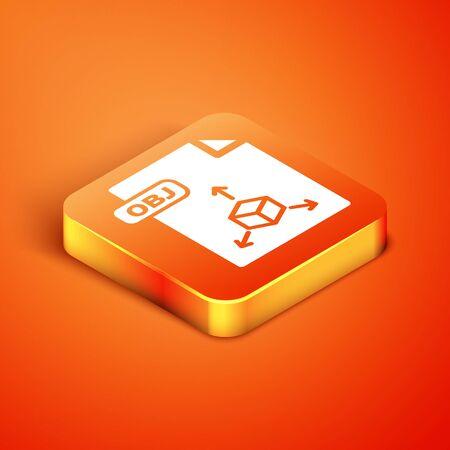 Isometric OBJ file document. Download obj button icon isolated on orange background. OBJ file symbol. Vector Illustration