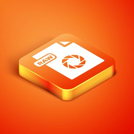 Isometric RAW file document. Download raw button icon isolated on orange background. RAW file symbol. Vector Illustration Stock Vector - 135496545