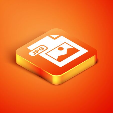 Isometric JPG file document. Download image button icon isolated on orange background. JPG file symbol. Vector Illustration