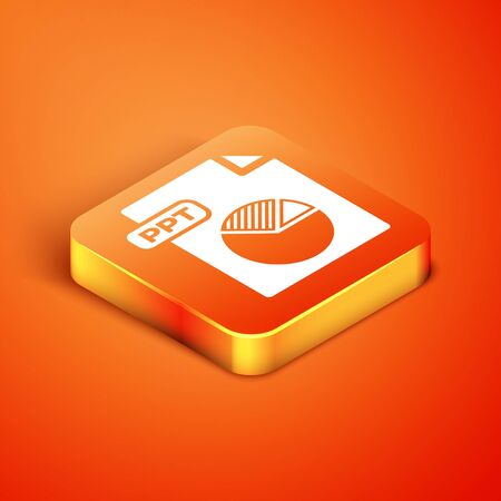 Isometric PPT file document. Download ppt button icon isolated on orange background. PPT file presentation. Vector Illustration