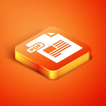 Isometric PDF file document. Download pdf button icon isolated on orange background. PDF file symbol. Vector Illustration