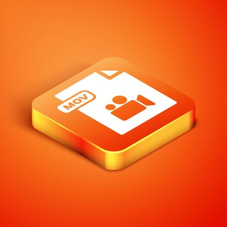 Isometric MOV file document. Download mov button icon isolated on orange background. MOV file symbol. Audio and video collection. Vector Illustration Illusztráció