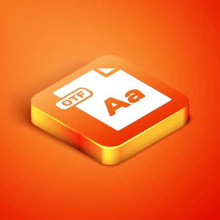 Isometric OTF file document. Download otf button icon isolated on orange background. OTF file symbol. Vector Illustration