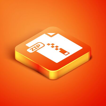 Isometric ZIP file document. Download zip button icon isolated on orange background. ZIP file symbol. Vector Illustration Illustration
