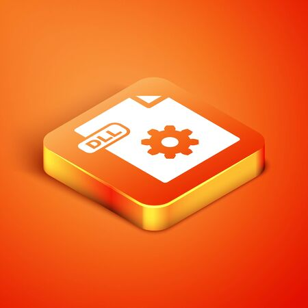 Isometric DLL file document. Download dll button icon isolated on orange background. DLL file symbol. Vector Illustration