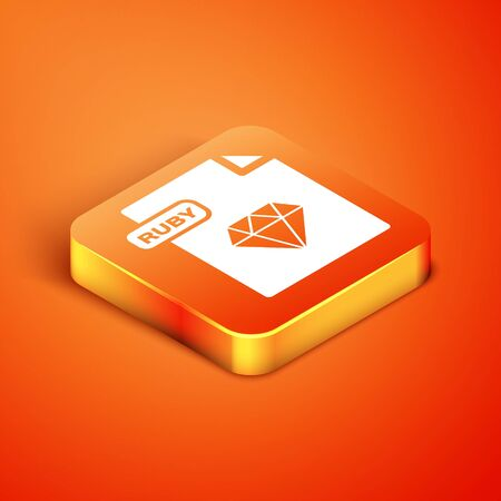 Isometric RUBY file document. Download ruby button icon isolated on orange background. RUBY file symbol. Vector Illustration