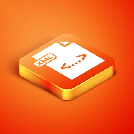Isometric XML file document. Download xml button icon isolated on orange background. XML file symbol. Vector Illustration