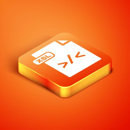 Isometric XSL file document. Download xsl button icon isolated on orange background. Excel file symbol. Vector Illustration