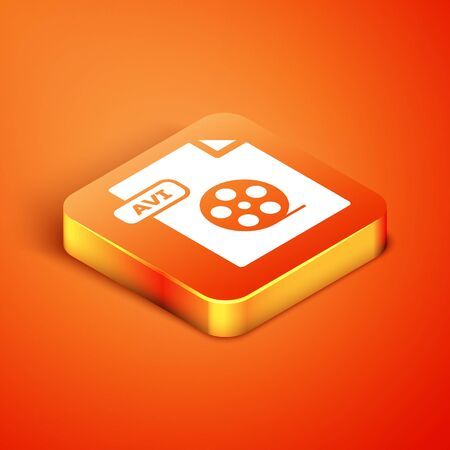 Isometric AVI file document. Download avi button icon isolated on orange background. AVI file symbol. Vector Illustration