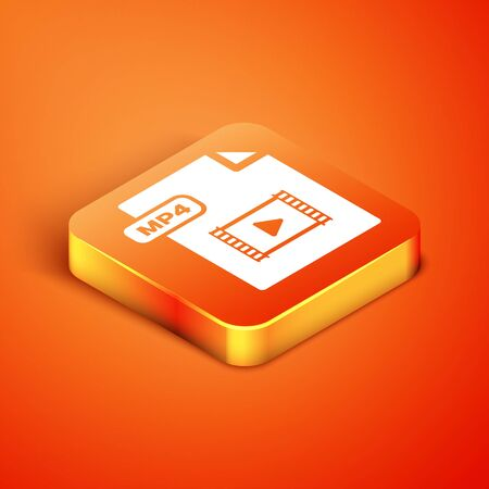 Isometric MP4 file document. Download mp4 button icon isolated on orange background. MP4 file symbol. Vector Illustration