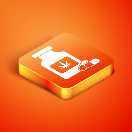 Isometric Medical bottle with marijuana or cannabis leaf icon isolated on orange background. Mock up of cannabis oil extracts in jars. Vector Illustration