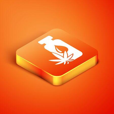 Isometric Medical marijuana or cannabis leaf olive oil drop icon isolated on orange background. Cannabis extract. Hemp symbol. Vector Illustration