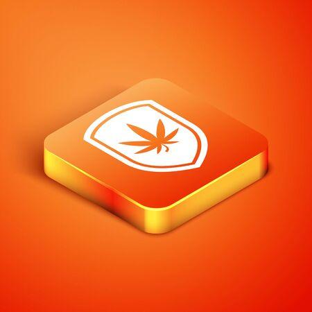Isometric Shield and marijuana or cannabis leaf icon isolated on orange background. Marijuana legalization. Hemp symbol. Vector Illustration