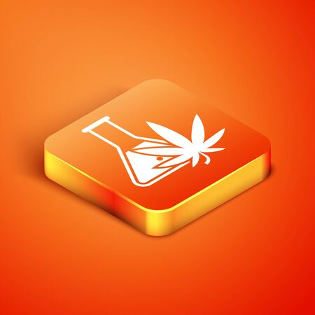 Isometric Chemical test tube with marijuana or cannabis leaf icon isolated on orange background. Research concept. Laboratory CBD oil concept. Vector Illustration