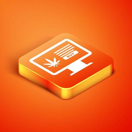 Isometric Computer monitor and medical marijuana or cannabis leaf icon isolated on orange background. Online buying symbol. Supermarket basket. Vector Illustration
