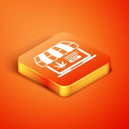 Isometric Laptop and medical marijuana or cannabis leaf icon isolated on orange background. Online buying symbol. Supermarket basket. Vector Illustration