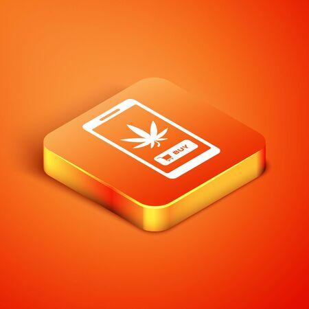 Isometric Mobile phone and medical marijuana or cannabis leaf icon isolated on orange background. Online buying symbol. Supermarket basket. Vector Illustration Stock Illustratie