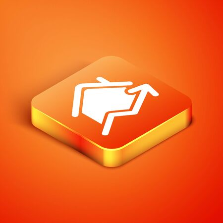 Isometric Rising cost of housing icon isolated on orange background. Rising price of real estate. Residential graph increases. Vector Illustration