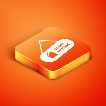 Isometric Hanging sign with text Open house icon isolated on orange background. Signboard with text Open house. Vector Illustration