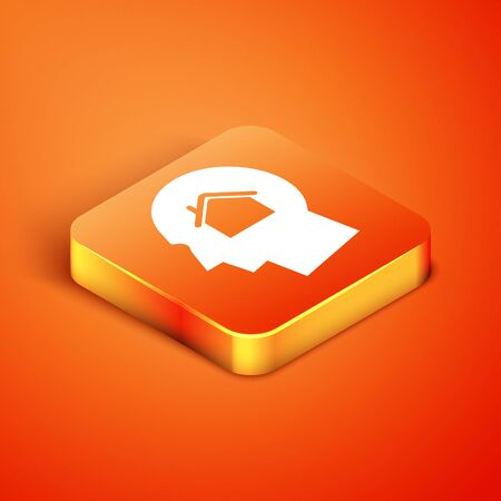 Isometric Man dreaming about buying a new house icon isolated on orange background. Vector Illustration 向量圖像
