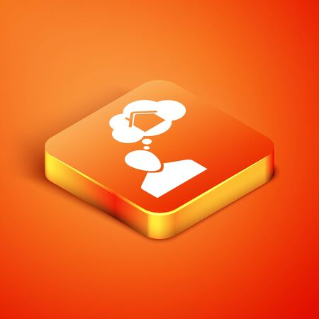 Isometric Man dreaming about buying a new house icon isolated on orange background. Vector Illustration 版權商用圖片 - 135496591