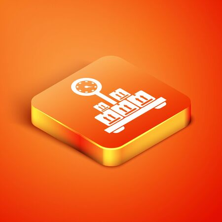 Isometric Scale with cardboard box icon isolated on orange background. Logistic and delivery. Weight of delivery package on a scale. Vector Illustration Ilustração