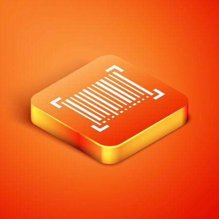 Isometric Barcode icon isolated on orange background. Vector Illustration