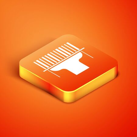 Isometric Scanner scanning bar code icon isolated on orange background. Barcode label sticker. Identification for delivery with bars. Vector Illustration