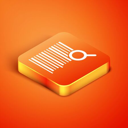 Isometric Search barcode icon isolated on orange background. Magnifying glass searching barcode. Barcode label sticker. Research barcode. Vector Illustration