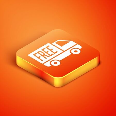 Isometric Free delivery service icon isolated on orange background. Free shipping. 24 hour and fast delivery. Vector Illustration