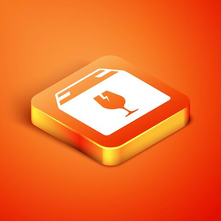 Isometric Delivery package box with fragile content symbol of broken glass icon isolated on orange background. Box, package, parcel sign. Vector Illustration