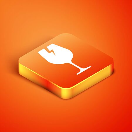 Isometric Fragile broken glass symbol for delivery boxes icon isolated on orange background. Vector Illustration