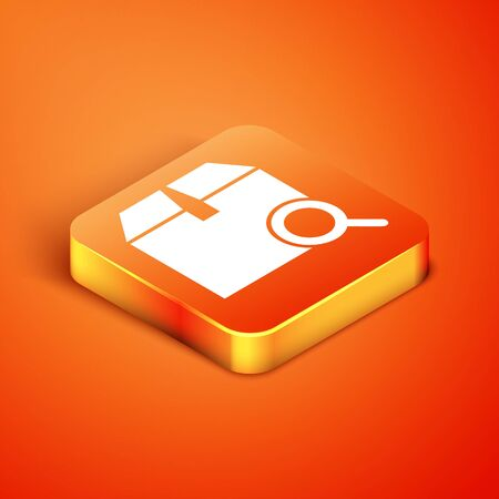Isometric Search package icon isolated on orange background. Parcel tracking symbol. Magnifying glass and cardboard box. Logistic and delivery. Vector Illustration
