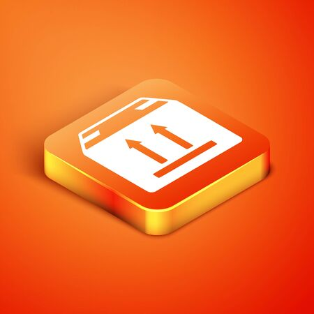 Isometric Cardboard box with traffic symbol icon isolated on orange background. Box, package, parcel sign. Delivery, transportation and shipping. Vector Illustration