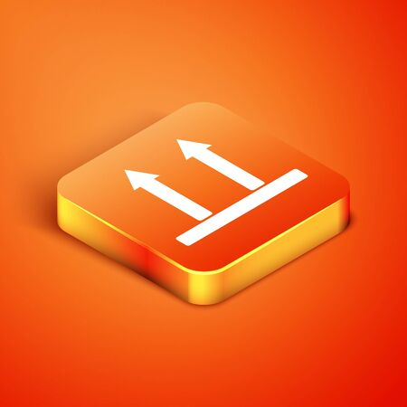 Isometric This side up icon isolated on orange background. Two arrows indicating top side of packaging. Cargo handled so these arrows always point up. Vector Illustration