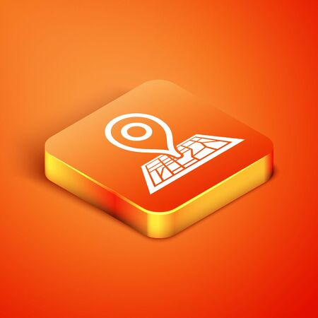 Isometric Placeholder on map paper in perspective icon isolated on orange background. Vector Illustration Illusztráció