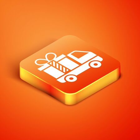 Isometric Delivery truck with gift icon isolated on orange background. Vector Illustration