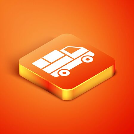 Isometric Delivery truck with cardboard boxes behind icon isolated on orange background. Vector Illustration Illustration