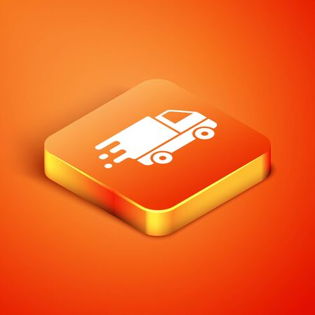 Isometric Delivery truck in movement icon isolated on orange background. Fast shipping delivery truck. Vector Illustration