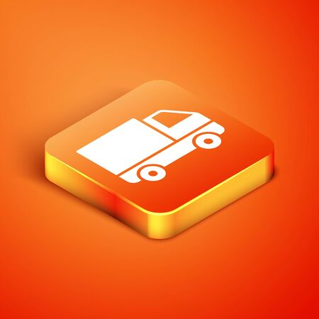Isometric Delivery cargo truck vehicle icon isolated on orange background. Vector Illustration
