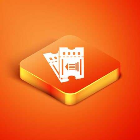 Isometric Museum ticket icon isolated on orange background. History museum ticket coupon event admit exhibition excursion. Vector Illustration