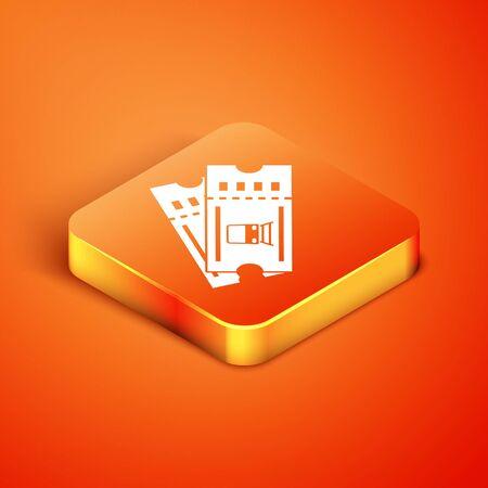 Isometric Train ticket icon isolated on orange background. Travel by railway. Vector Illustration Foto de archivo - 135496405
