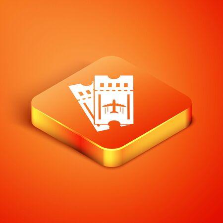 Isometric Airline ticket icon isolated on orange background. Plane ticket. Vector Illustration