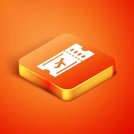 Isometric Airline ticket icon isolated on orange background. Plane ticket. Vector Illustration Foto de archivo - 135496410