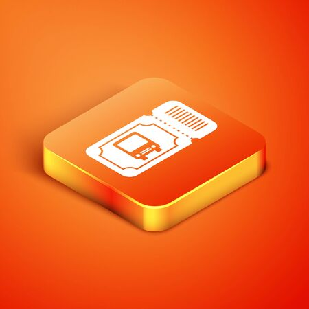 Isometric Bus ticket icon isolated on orange background. Public transport ticket. Vector Illustration