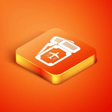 Isometric Airline ticket icon isolated on orange background. Plane ticket. Vector Illustration Foto de archivo - 135496453