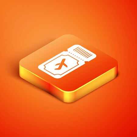 Isometric Airline ticket icon isolated on orange background. Plane ticket. Vector Illustration Foto de archivo - 135496454