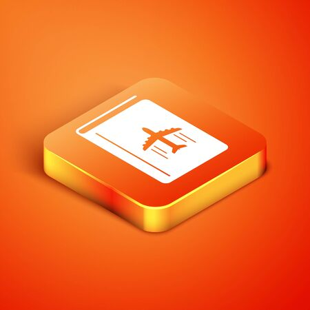 Isometric Cover book travel guide icon isolated on orange background. Vector Illustration Ilustracja