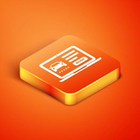 Isometric Online car sharing icon isolated on orange background. Online rental car service. Online booking design concept for laptop. Vector Illustration Illustration