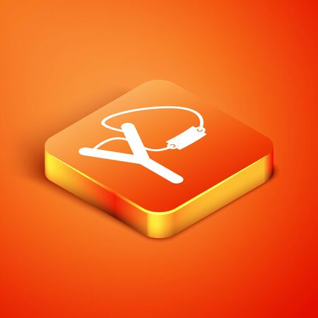 Isometric Slingshot icon isolated on orange background. Vector Illustration Vectores